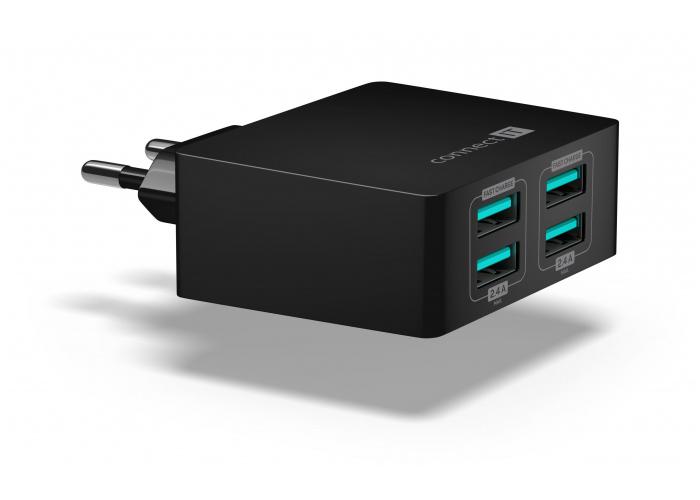 Adaptér síťový CONNECT IT CWC-4010-BK Fast Charge nabíjecí adaptér 4×USB-A, 4,8A, černý
