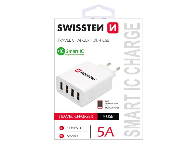 Adaptér síťový SWISSTEN SMART IC 4x USB 5A POWER BÍLÝ
