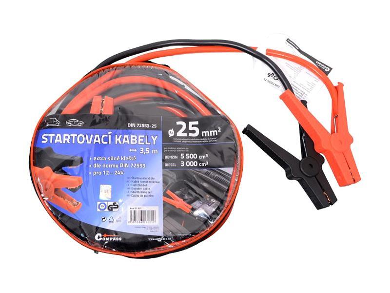 Startovací kabely 25mm2 se svorkami 3,5m TÜV/GS DIN72553