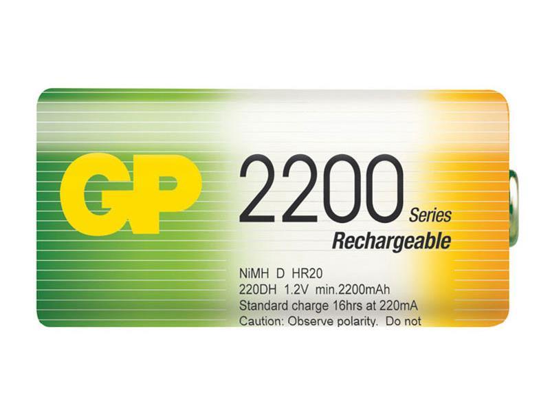 Baterie D (R20) nabíjecí GP NiMH 2200mAh