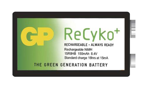 Baterie 6F22 (9V) nabíjecí GP Recyko+ 150mAh