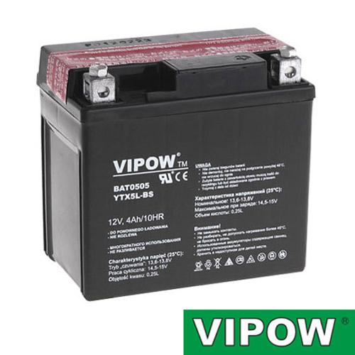 Baterie motocyklová 12V  4Ah Vipow YTX5L-BS