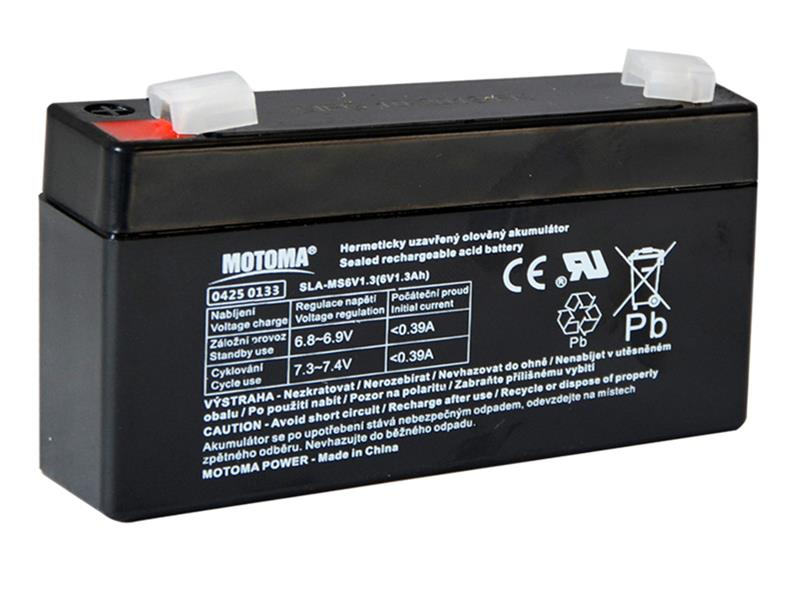 Baterie olověná 6V 1,3Ah MOTOMA bezúdržbový akumulátor