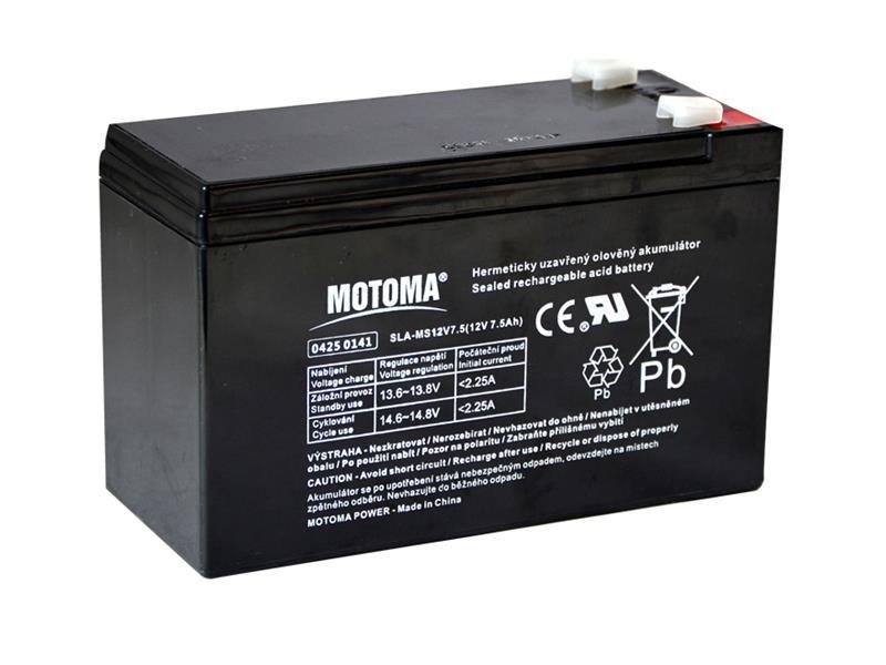 Baterie olověná 12V   7.5Ah MOTOMA (konektor 6,35 mm)