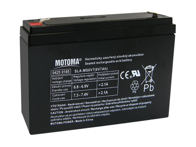 Baterie olověná 6V 7Ah MOTOMA bezúdržbový akumulátor