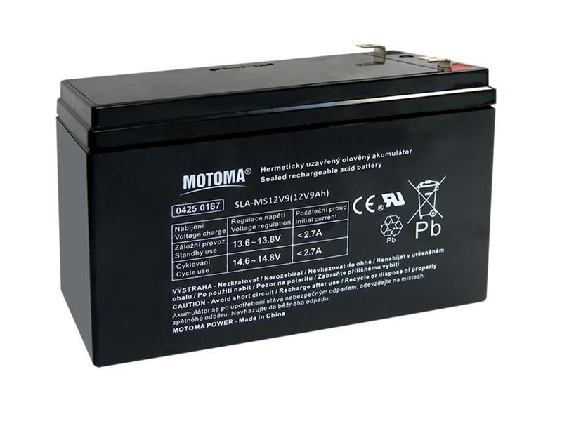 Baterie olověná 12V   9Ah MOTOMA (konektor 6,35 mm)
