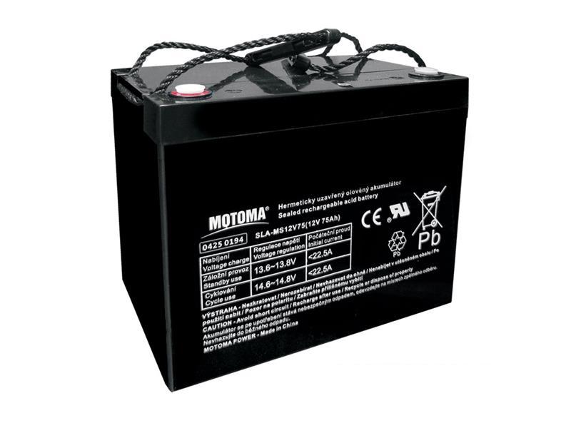 Baterie olověná 12V 75Ah MOTOMA bezúdržbový akumulátor
