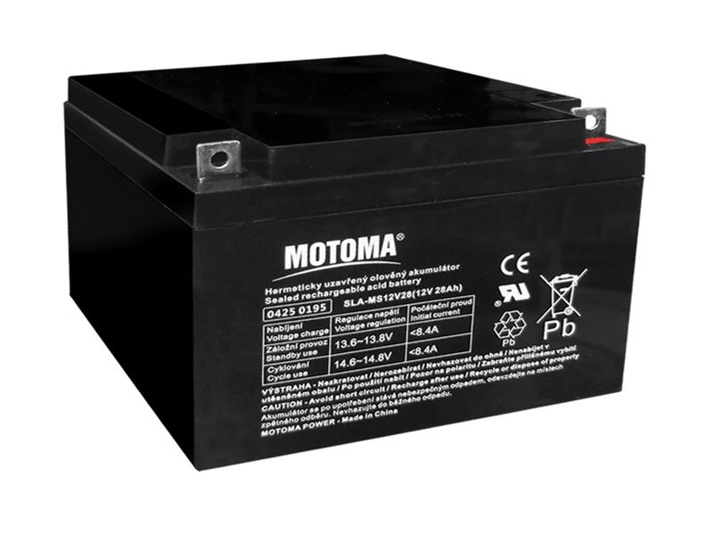 Baterie olověná 12V 28Ah MOTOMA bezúdržbový akumulátor