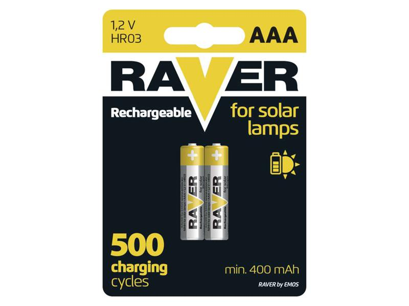 Baterie AAA (R03) nabíjecí RAVER solar 400mAh