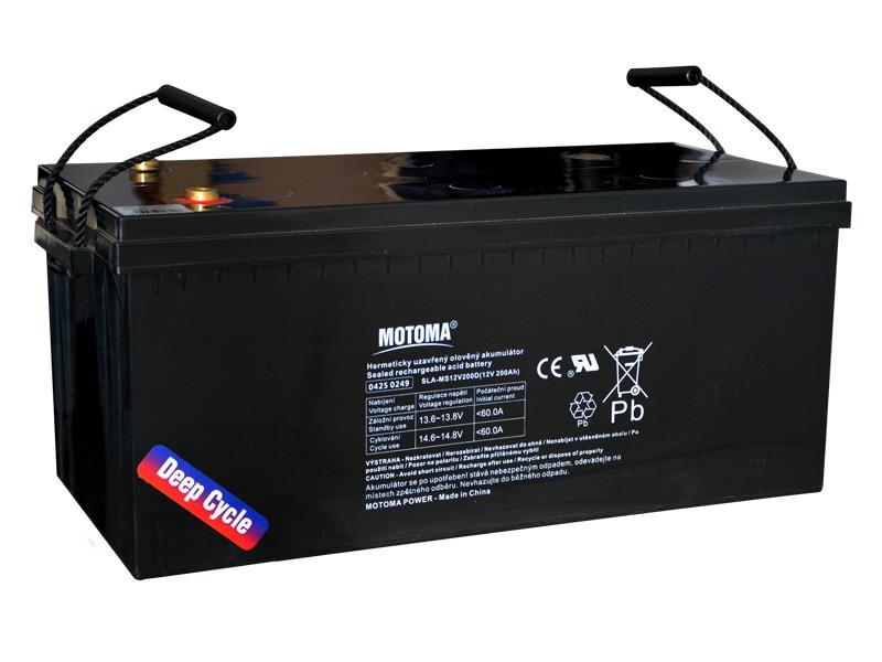 Baterie olověná 12V 200Ah MOTOMA pro soláry (bezúdržbový akumulátor)