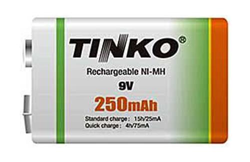 Baterie 6F22 (9V) nabíjecí TINKO NiMH 250mAh