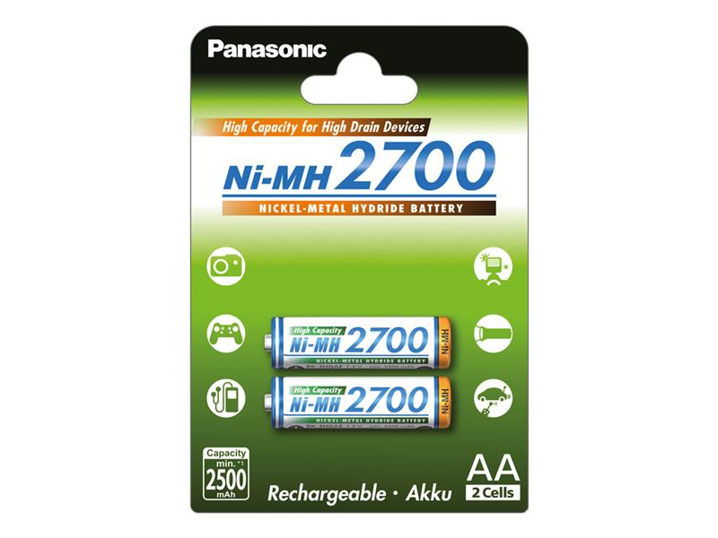 Baterie AA (R6) nabíjecí 1,2V/2700mAh PANASONIC NiMH 2ks
