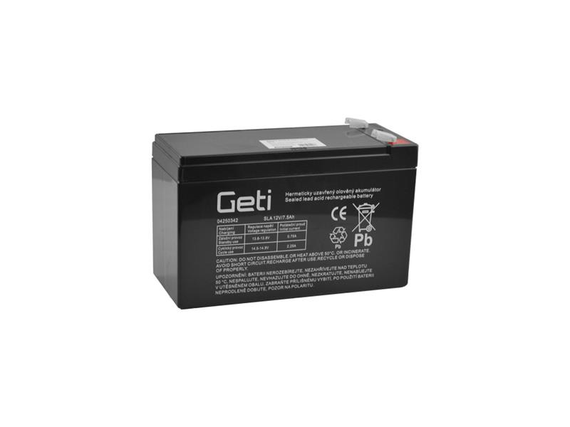 Baterie olověná 12V   7.5Ah Geti (konektor 6,35 mm)
