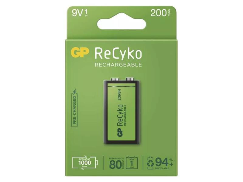 Baterie 6F22 nabíjecí 9V/200mAh GP Recyko