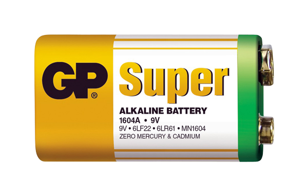 Baterie 6F22 (9V) alkalická GP Super Alkaline 9V 1ks ve fólii