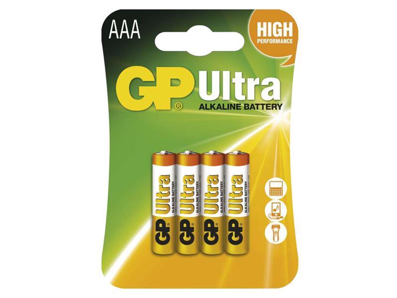 Baterie AAA(R03) alkalická GP Ultra Alkaline 4ks blistr
