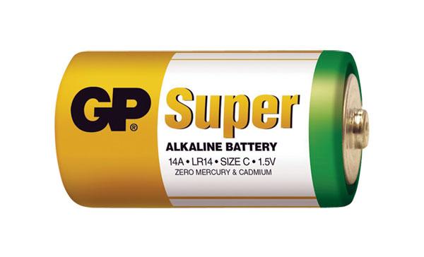 Baterie C (R14) alkalická GP Super Alkaline LR14 balení 2 ks fólie