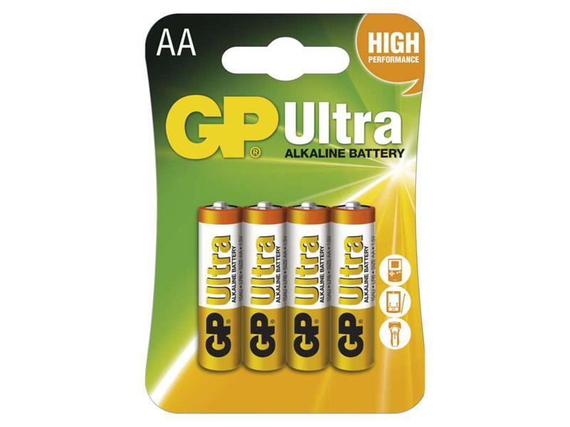 Baterie AA (R6) alkalická GP Ultra Alkaline balení 4ks v blistru