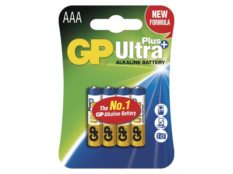 Baterie AAA(R03) alkalická GP Ultra Plus Alkaline balení 4ks blistr
