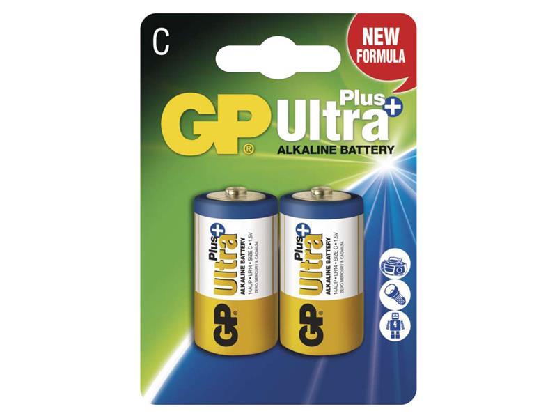 Baterie C (R14) alkalická GP Ultra Plus Alkaline R14 balení 2ks blistr