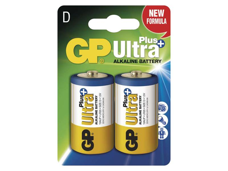 Baterie D (R20) alkalická GP Ultra Plus Alkaline R20 2ks blistr