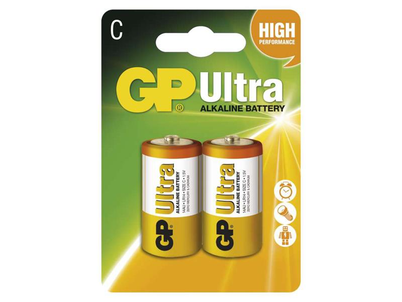 Baterie GP Ultra Alkaline C balení 2ks blistr