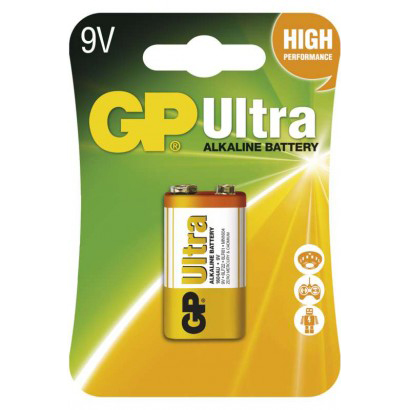 Baterie 6F22 (9V) alkalická GP Ultra Alkaline 9V balení 1ks v blistru