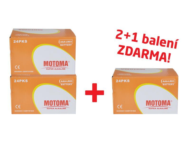 Balíček 2+1 (288 ks) Baterie alkalická AAA (LR03) MOTOMA Ultra Alkaline