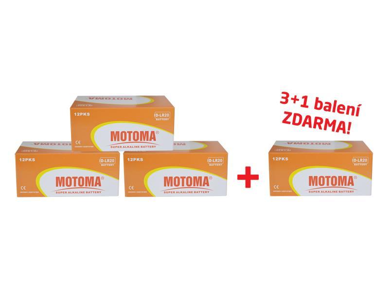 MOTOMA alkalická baterie LR20 AM1 MN1300 1,5 V balení 3+1 zdarma 96 ks