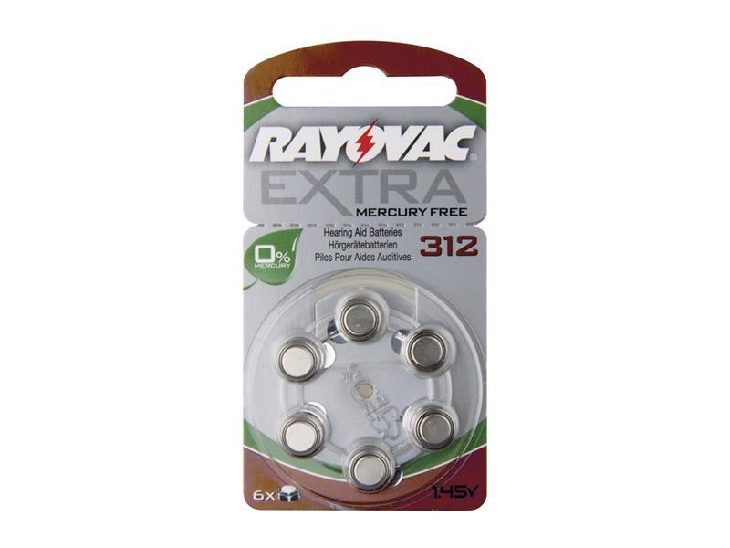Baterie do naslouchadel RAYOVAC H312MF, 6 ks v blistru