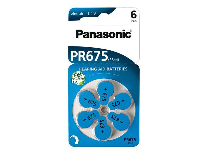 Baterie PANASONIC AZ675/V675/PR675 do naslouchadel 6BL zinkovzdušné