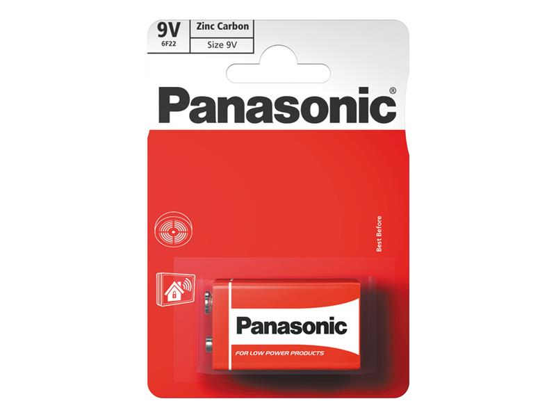 Baterie 6F22 (9V) Zn-Cl PANASONIC Red