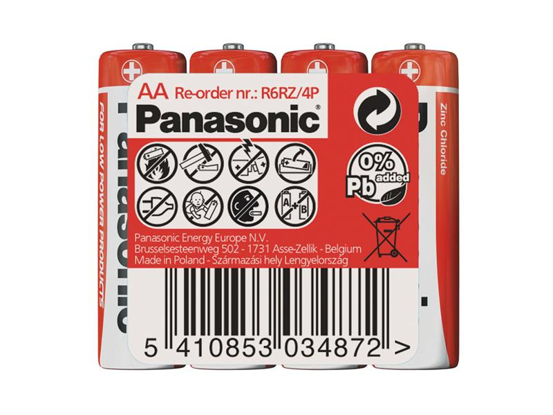 Baterie AA (R6) Zn-Cl PANASONIC Red 4S