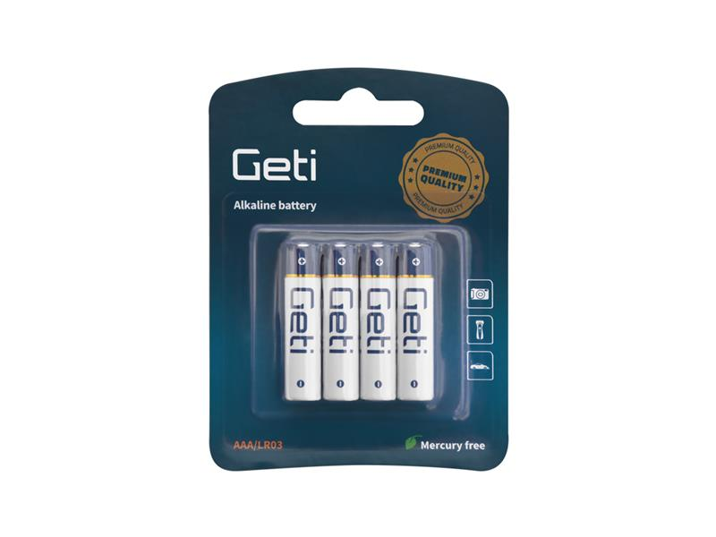 Baterie AAA (LR03) alkalická Geti 1,5V Blistr (4 kusy)
