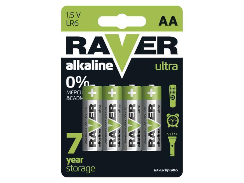Baterie AA (R6) alkalická RAVER  4ks