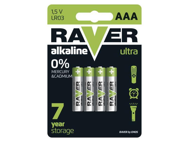 Baterie AAA (R03) alkalická RAVER  4ks