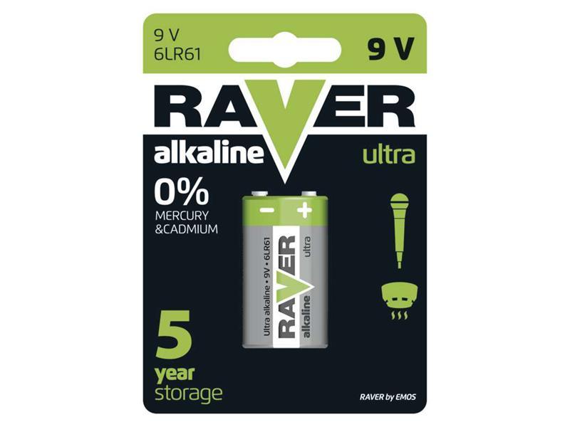 Baterie 6F22 (9V) alkalická RAVER