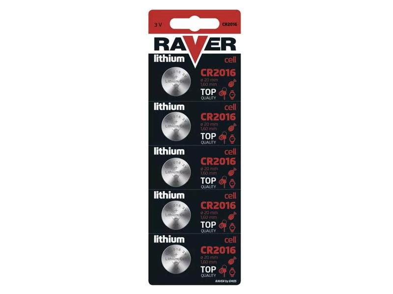 Baterie CR2016 RAVER lithiová  5ks