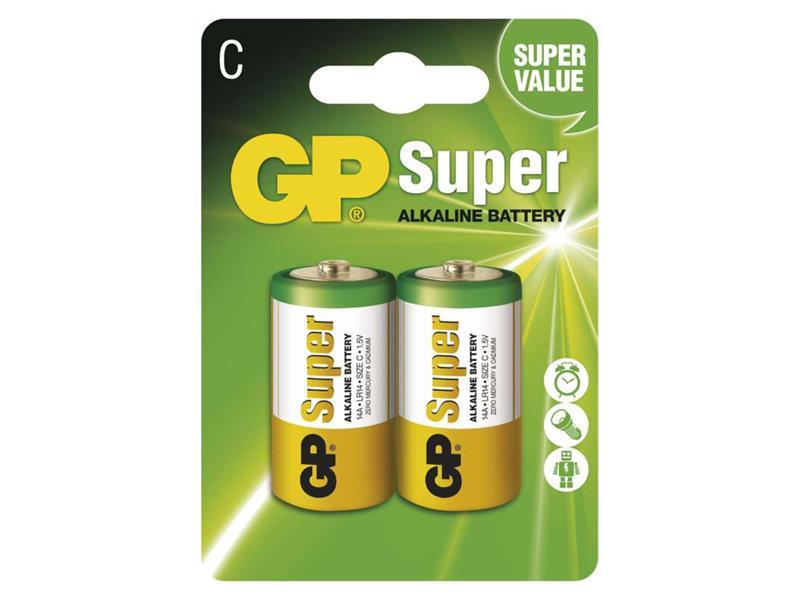 Baterie C (R14) alkalická GP Super Alkaline  2ks