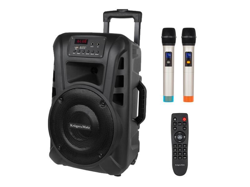 Reprosoustava přenosná KRUGER MATZ KM1710, 2x bezdrátový mikrofon, 20W