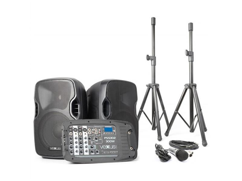 """Řečnický systém aktivní 2x 10"""" MP3-SD-USB-Bluetooth 300W Vexus PSS-302"""