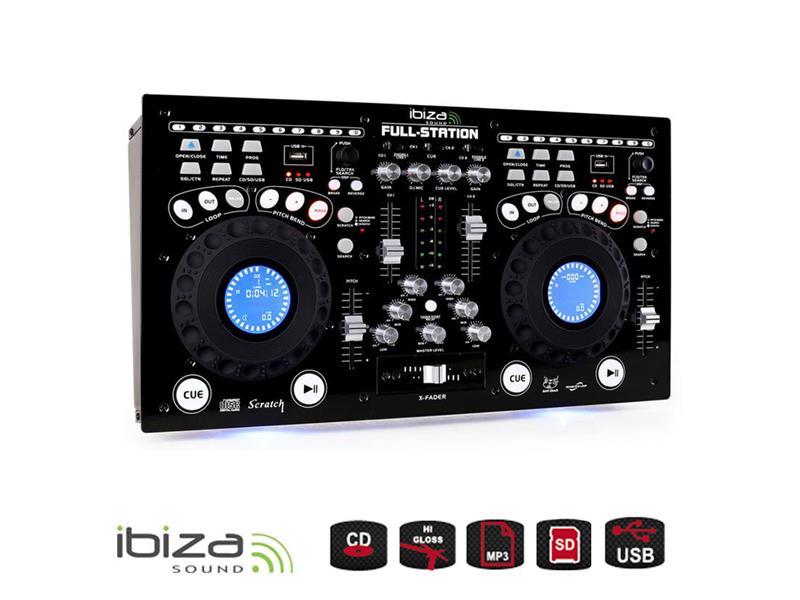 Mixážní pult IBIZA DJ15-2215 FULL-STATION s dvoj CD/USB/SD