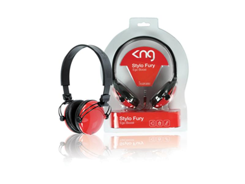 Sluchátka KNG-5070 Stylo - Ego boost, polouzavřená, červená