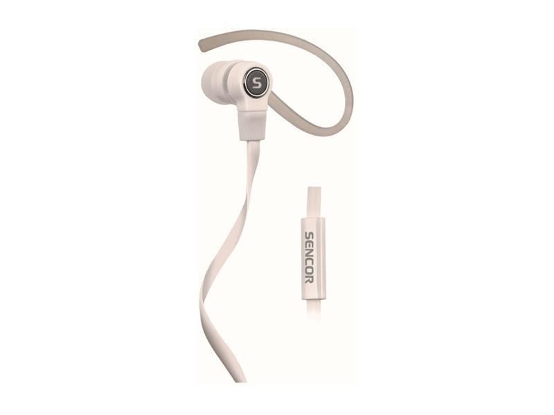 Sluchátka do uší s klipem a mikrofonem , sportovní SENCOR SEP 189 MIC SPORT'N'TALK WHITE