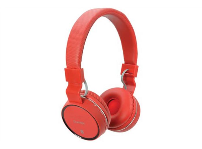 Sluchátka PBH-10, Bluetooth, SD, bezdrátová, červená