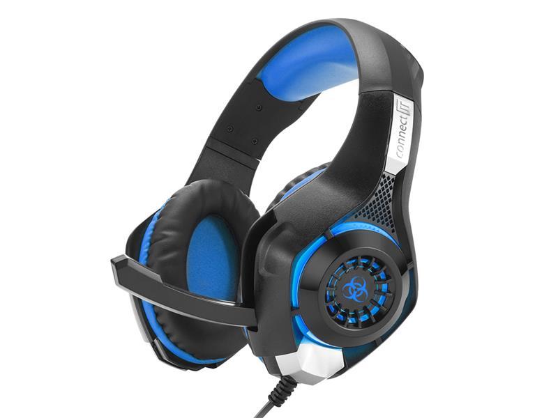 Sluchátka herní s mikrofonem CONNECT IT BIOHAZARD modré