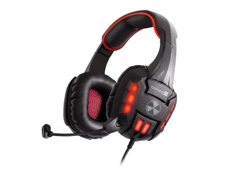 Sluchátka herní s mikrofonem CONNECT IT BATTLE RNBW červené CI-1130