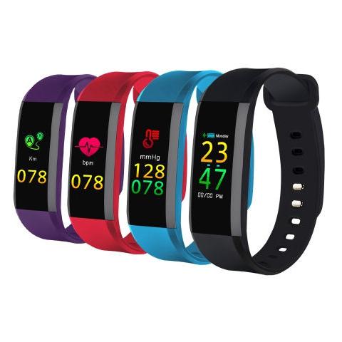 Fitness náramek s měřením tepu a krevního tlaku fialový FT8, OLED
