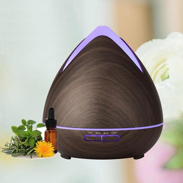 Aroma difuzér 02 tmavé dřevo - ultrazvukový, 7 barev LED