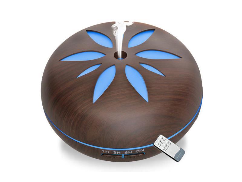 Aroma difuzér Y02 tmavé dřevo - ultrazvukový, 7 barev LED, dálkové ovládání
